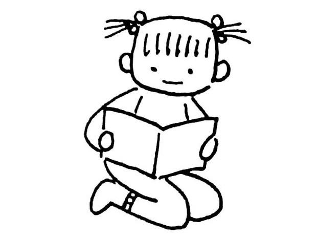 小女孩读书的简笔画