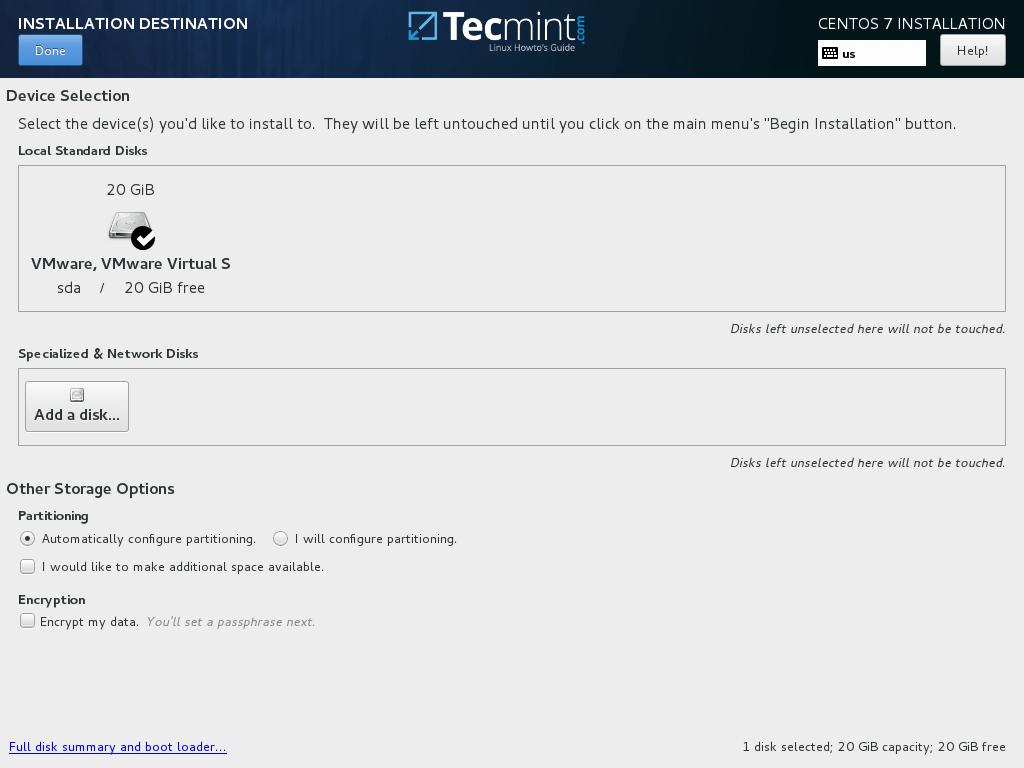 Select CentOS 7.3 Installation Destination